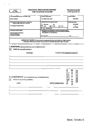Page 1: Timothy S Black Financial Disclosure Report for 2009