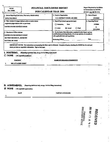 Page 1: Walter H Rice Financial Disclosure Report for 2004