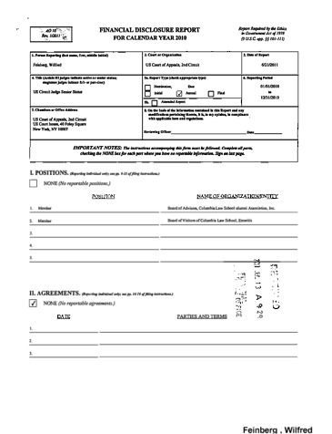 Page 1: Wilfred Feinberg Financial Disclosure Report for 2010