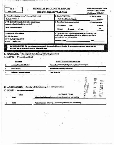 Page 1: William C Canby Jr Financial Disclosure Report for 2004