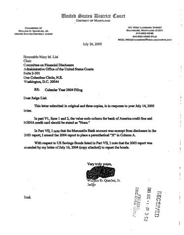 Page 1: William D Quarles Jr Financial Disclosure Report for 2004