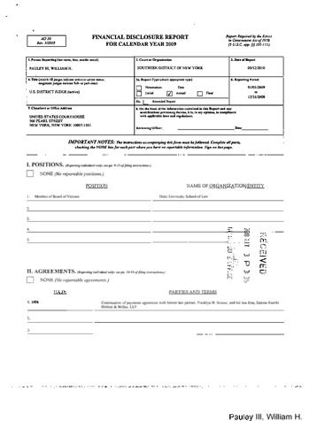Page 1: William H Pauley III Financial Disclosure Report for 2009