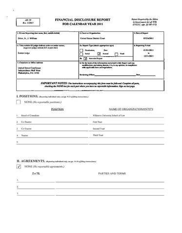 Page 1: William J Ditter Jr Financial Disclosure Report for 2011
