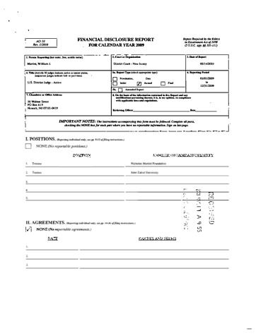 Page 1: William J Martini Financial Disclosure Report for 2009