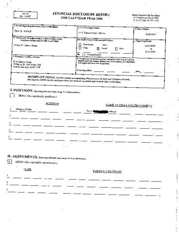 Page 1: Willis B Hunt Jr Financial Disclosure Report for 2006