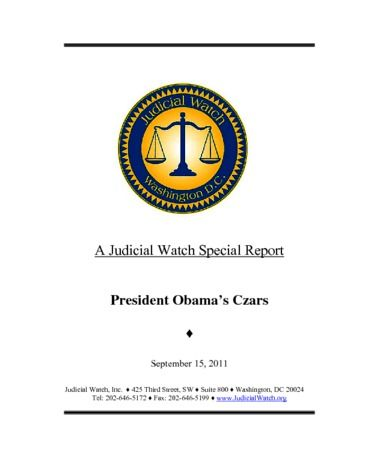 Page 1: A Judicial Watch Special Report President Obamas Czars