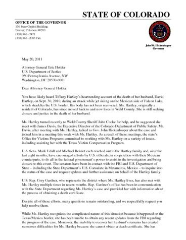 Page 1: Hartley Letter to Holder 5242011