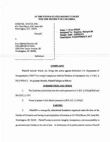 Page 1: Judicial Watch v Department of Transportation Complaint 2292012