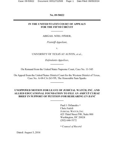 Page 1: Filed Amicus Brief and Motion Fisher v  UT