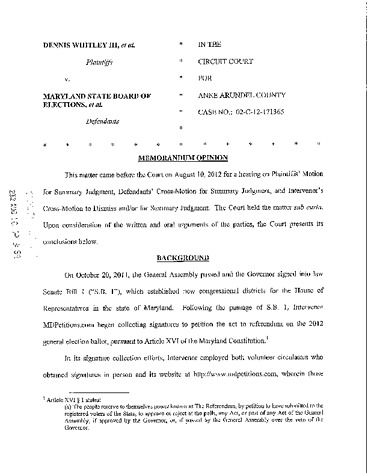 Page 1: Dennis Whitley III v. MD BOE