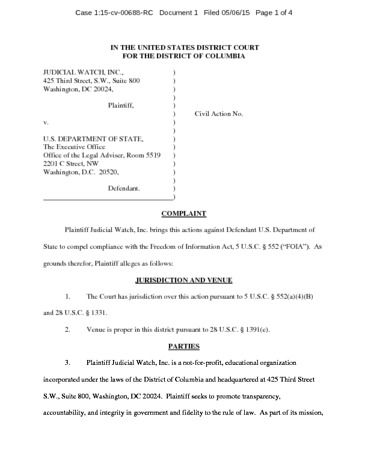 Page 1: JW v State 00688 Clinton Foundation conflicts