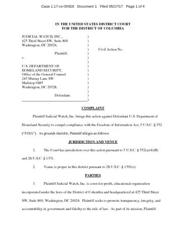 Page 1: JW v. DHS Obama post white house travel complaint 00928