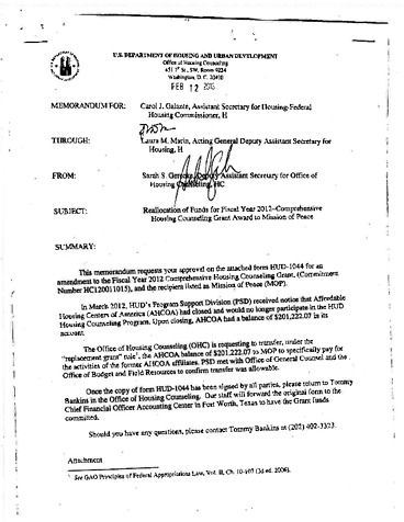 Page 1: Gerecke memo from HUD Documents Obtained