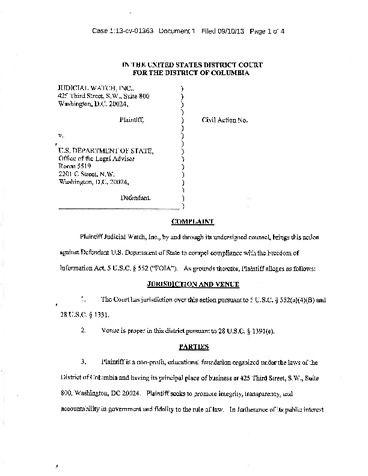 Page 1: JW v Department of State (Huma Abedin documents)