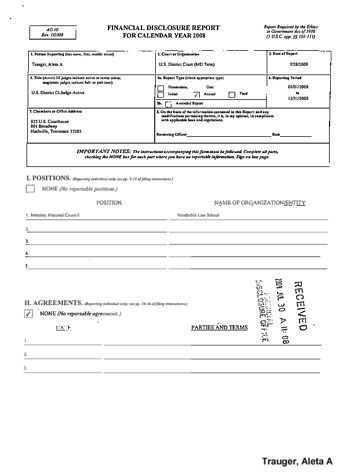 Page 1: Aleta A Trauger Financial Disclosure Report for 2008