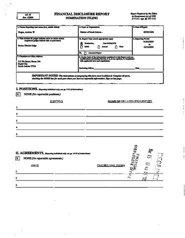 Page 1: Andrew W Bogue Financial Disclosure Report for 2005