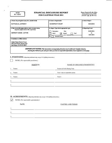 Page 1: Anthony Battaglia Financial Disclosure Report for 2011