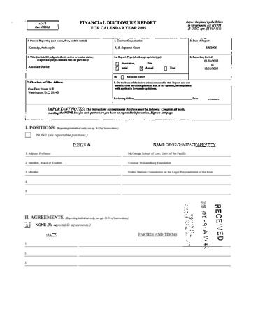 Page 1: Anthony M Kennedy Financial Disclosure Report for 2005