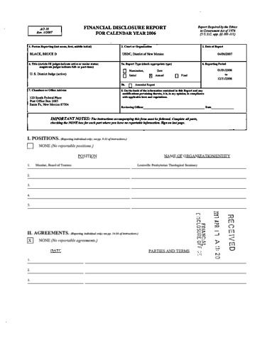 Page 1: Bruce D Black Financial Disclosure Report for 2006