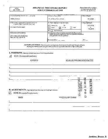 Page 1: Bruce S Jenkins Financial Disclosure Report for 2008