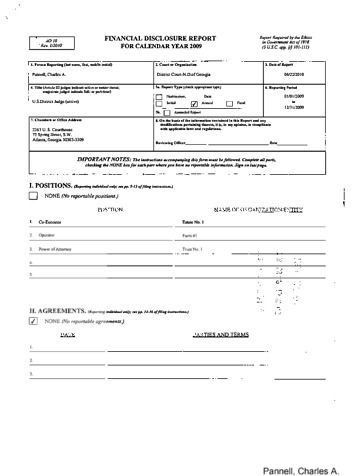 Page 1: Charles A Pannell Financial Disclosure Report for 2009