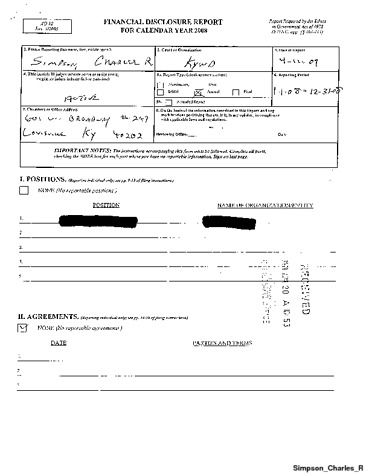 Page 1: Charles R Simpson Financial Disclosure Report for 2008