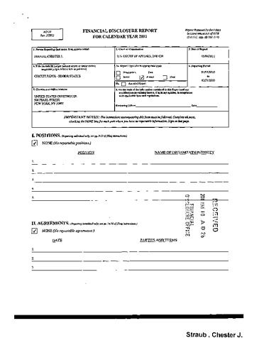 Page 1: Chester J Straub Financial Disclosure Report for 2010