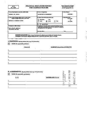 Page 1: Dan M Russell Jr Financial Disclosure Report for 2005