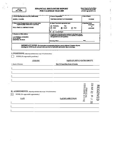 Page 1: Daniel J Breen Financial Disclosure Report for 2005