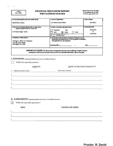 Page 1: David R Proctor Financial Disclosure Report for 2010