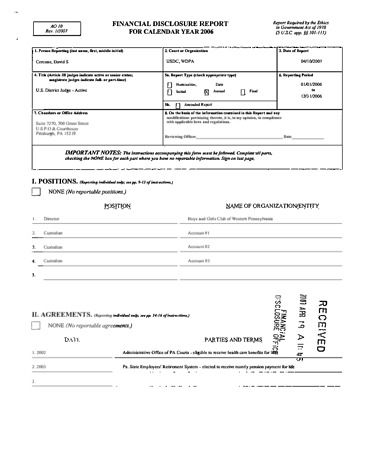 Page 1: David S Cercone Financial Disclosure Report for 2006