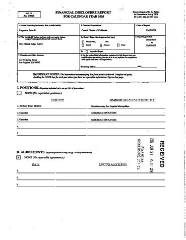 Page 1: Dean D Pregerson Financial Disclosure Report for 2005