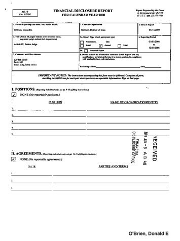 Page 1: Donald E OBrien Financial Disclosure Report for 2008