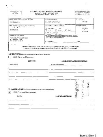 Page 1: Ellen B Burns Financial Disclosure Report for 2009