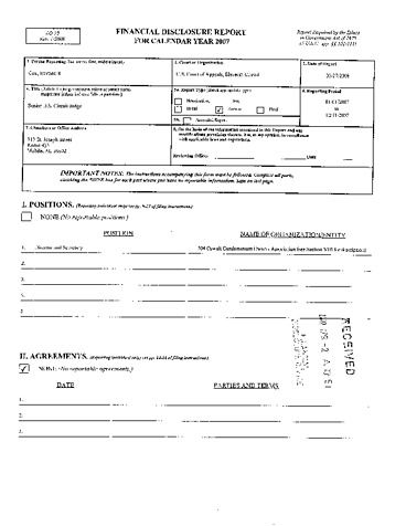 Page 1: Emmett R Cox Financial Disclosure Report for 2007