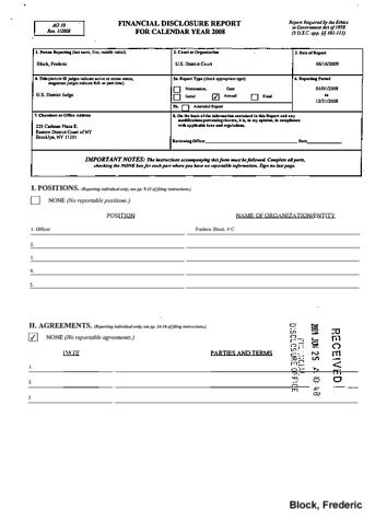 Page 1: Frederic Block Financial Disclosure Report for 2008