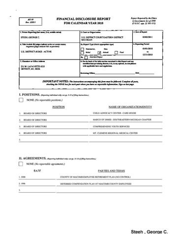 Page 1: George C Steeh Financial Disclosure Report for 2010