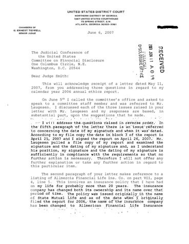Page 1: George E Tidwell Financial Disclosure Report for 2006