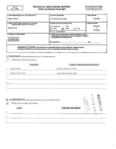 Page 1: George Z Singal Financial Disclosure Report for 2007