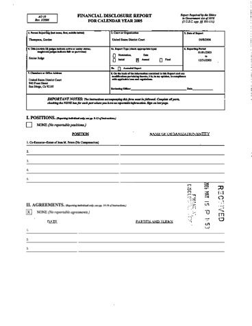 Page 1: Gordon Thompson Financial Disclosure Report for 2005