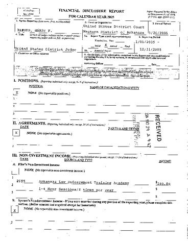 Page 1: Harry F Barnes Financial Disclosure Report for 2005
