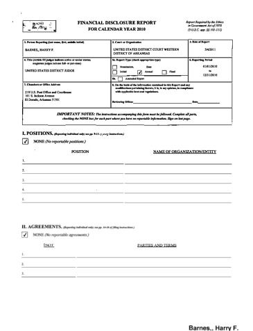 Page 1: Harry F Barnes Financial Disclosure Report for 2010