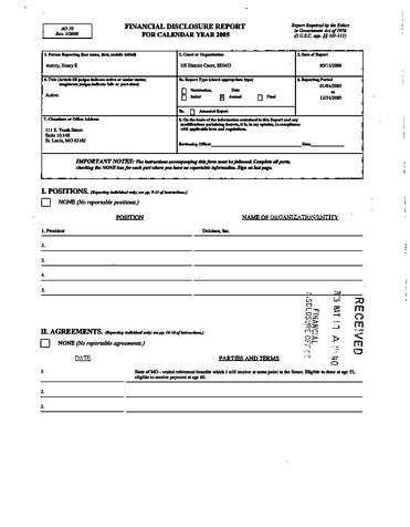 Page 1: Henry E Autrey Financial Disclosure Report for 2005
