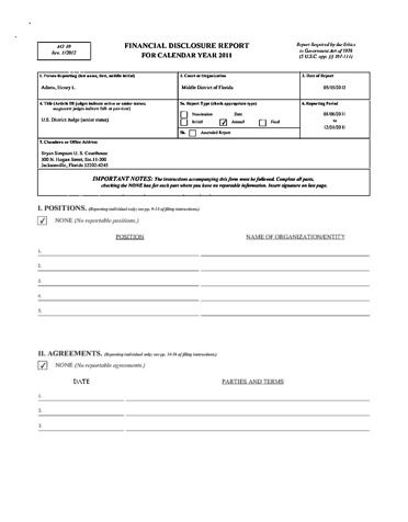 Page 1: Henry L. Adams Financial Disclosure Report for 2011