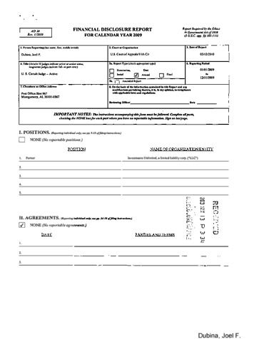 Page 1: Joel F Dubina Financial Disclosure Report for 2009