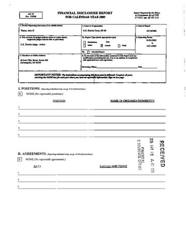 Page 1: John D Tinder Financial Disclosure Report for 2005