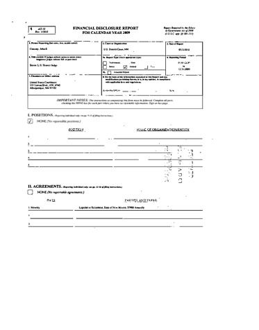 Page 1: John E Conway Financial Disclosure Report for 2009