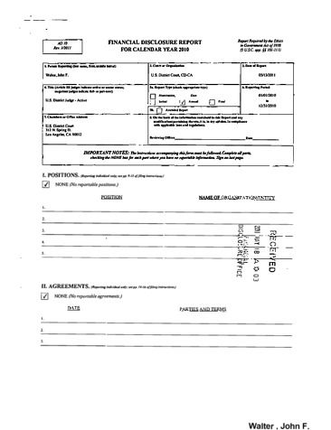 Page 1: John F Walter Financial Disclosure Report for 2010