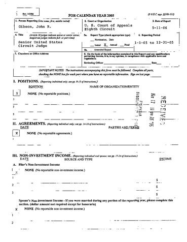 Page 1: John R Gibson Financial Disclosure Report for 2005