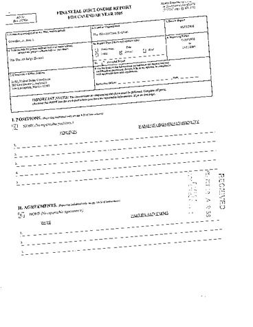 Page 1: Jose A Gonzalez Jr Financial Disclosure Report for 2005